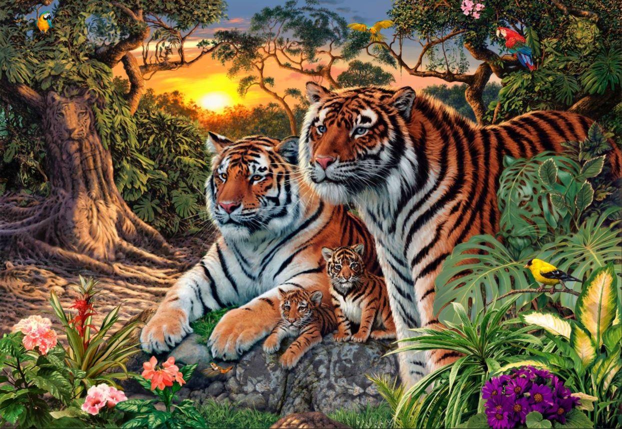 Auf den ersten Blick sind vier Tiger auf diesem Bild zu sehen. Aber es haben sich noch viel mehr versteckt. Finden Sie alle?