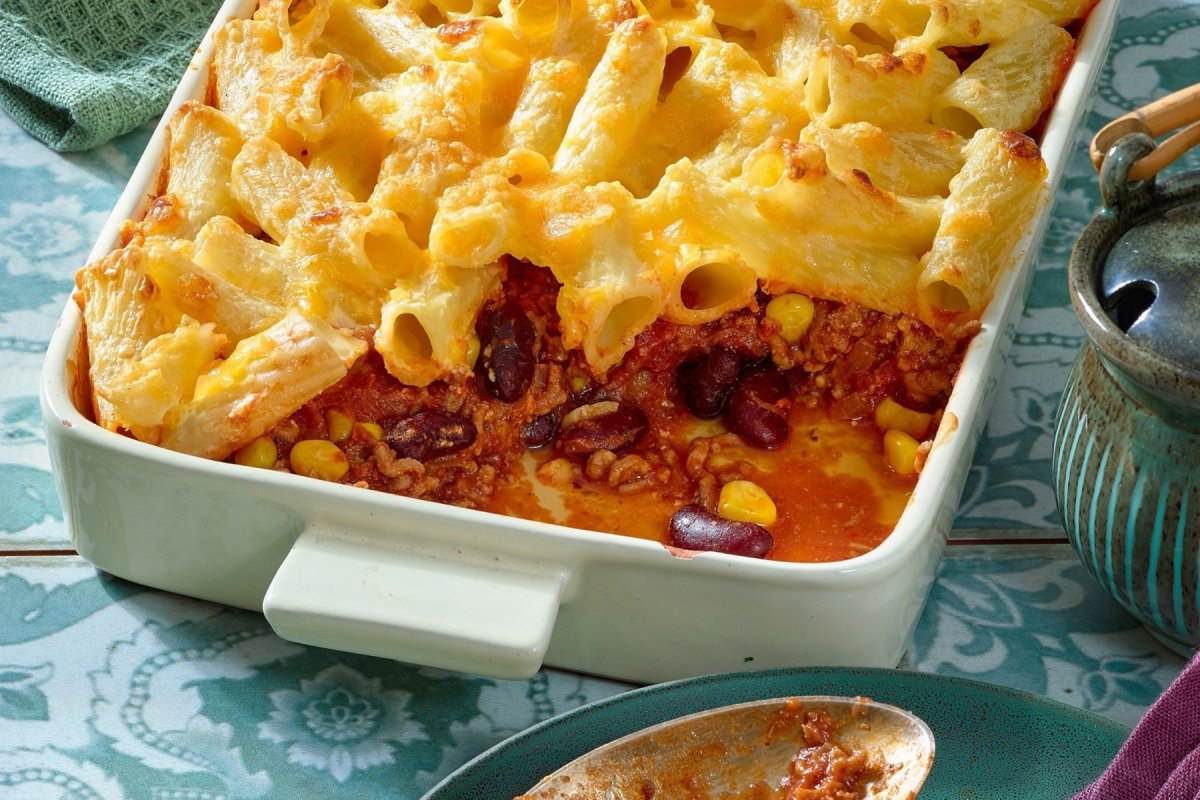 Rezept für Chili con Carne Auflauf mit Nudeln
