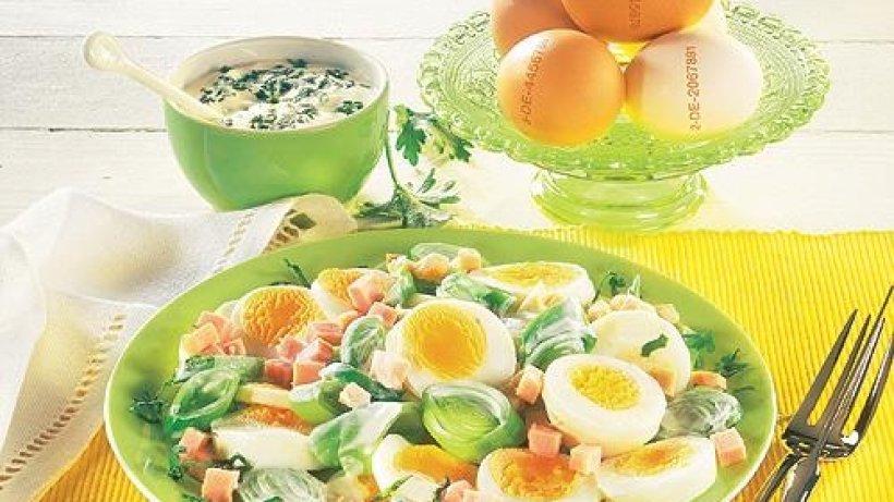 Eier lauch salat mit schinken - Eier platzen beim kochen ...