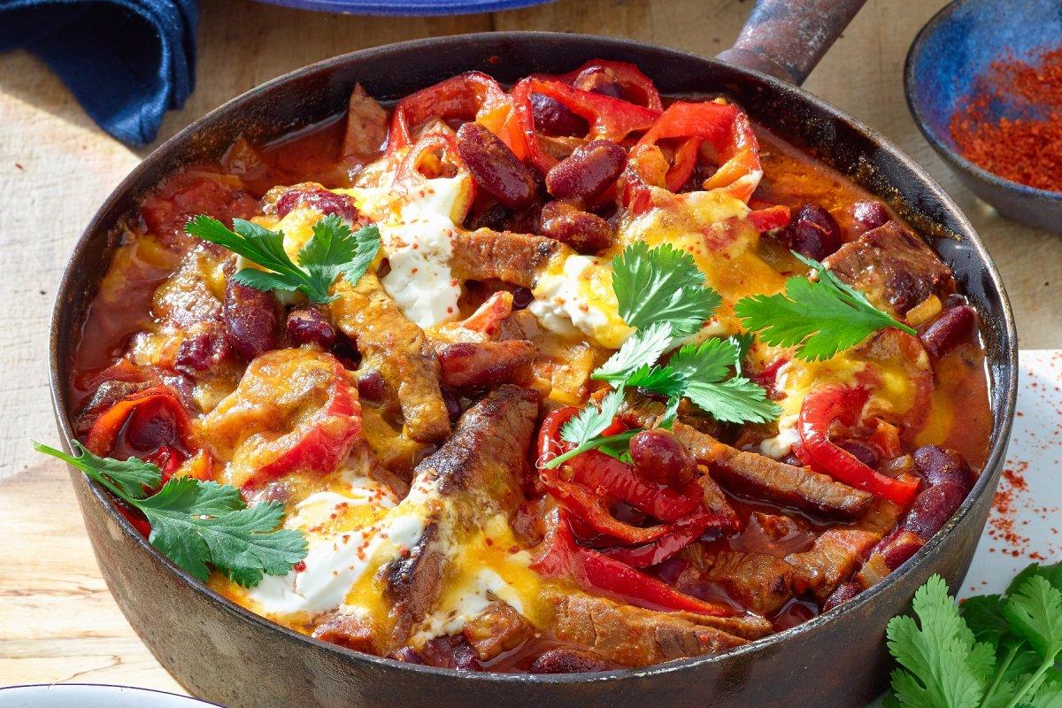 Mexikanische Roastbeef-Pfanne: Rezept mit Koriander