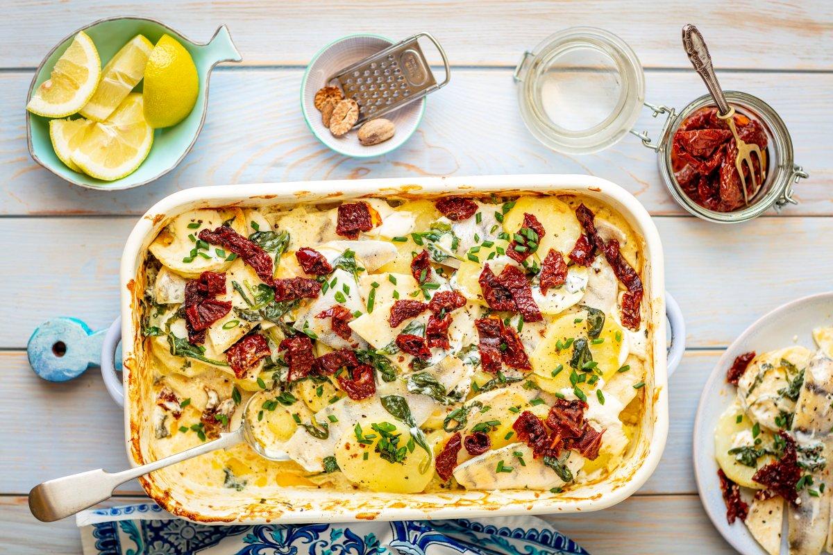 Fisch-Kartoffel-Auflauf:Rezept mit Spinat un getrockneten Tomaten