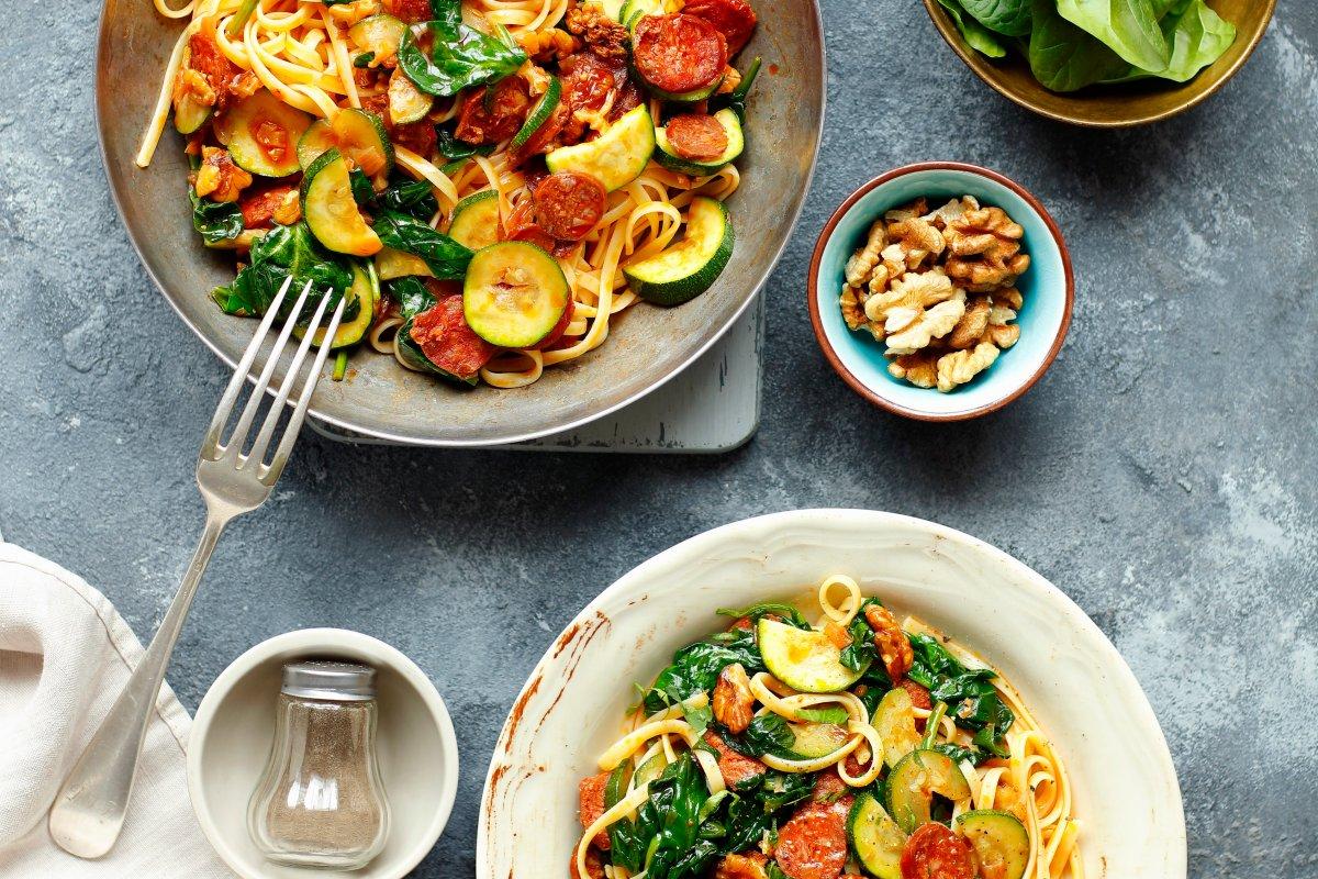 Linguine mit Chorizo und Spinat: Schnelles und einfaches Rezept
