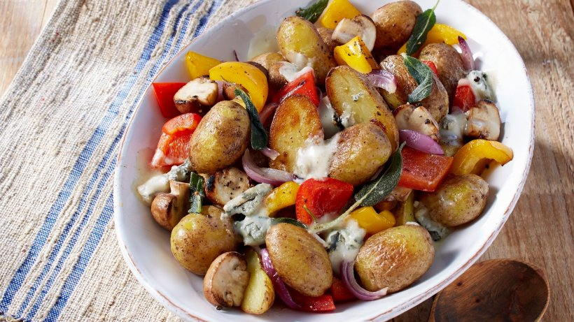 Kartoffel-Pilz-Pfanne mit Gorgonzola